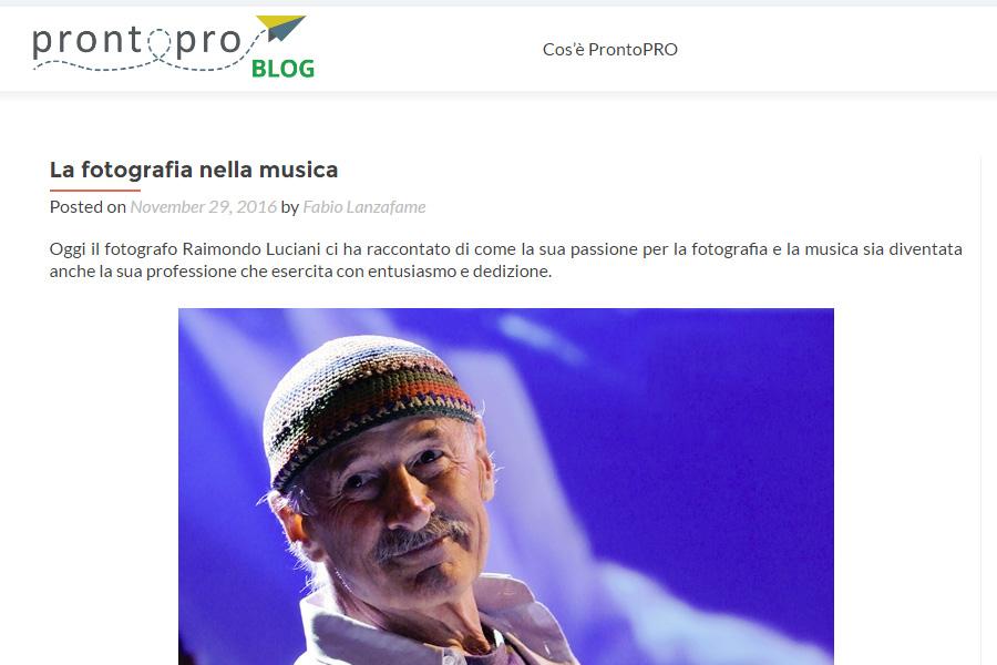 La Fotografia nella Musica - ProntoPro - Novembre 2016